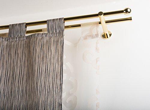 Incasa bastone doppio per tende Ø 20 mm senza anelli, l. 160 cm. in ottone lucido - completo
