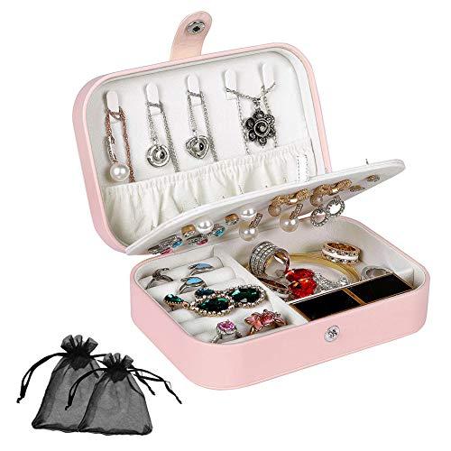 Schmuckkästchen Damen, Vielseitig Langlebig Tragbar 3-lagig Schmuck-Organizer-Schatulle für Halskette Ohrringe Ringe Armbänder Uhren Manschettenknöpfe - Rosa