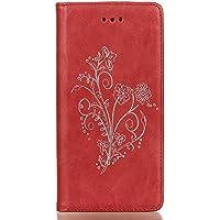 Meet de Sony Xperia Z1 Case, Sony Xperia Z1 (Bouquet en relief ) pour Folio Wallet flip étui en cuir / Pouch / Case / Holster / Wallet / Case, Sony Xperia Z1 PU Housse / en cuir Wallet Style de couverture de cas Coque pour téléphone portable Étui Porte-monnaie en cuir étui de téléphone avec support Fonction pour Sony Xperia Z1 - rouge
