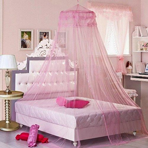 Nibesser Moskitonetz Prinzessin Baldachin für Doppelbetten und Einzelbetten, Vollständig Hängendes Rundes Netz, Einfach Montieren (Prinzessin Himmelbett)
