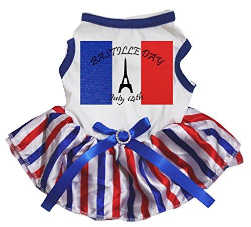 petitebelle Puppy Kleidung Kleid Frankreich Tag Juli 14. Weiß Top Wimpelkette Streifen Tutu