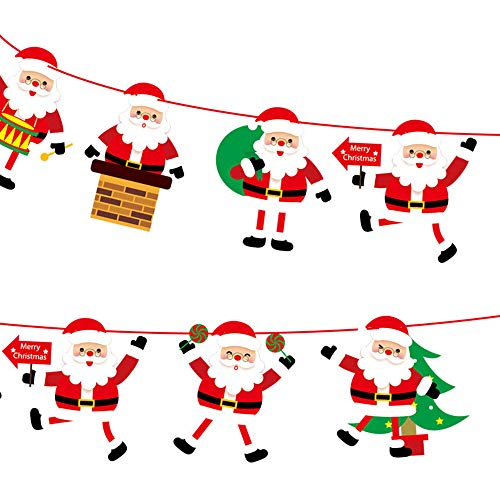 BESSKY Christmas Paperboard Pennant Flags Banners Hanging Buntings Garland Banner 3m Weihnachtshotel mit DIY Papierfahne Santa Claus dekoriert