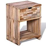 Zora Walter Nachttisch mit Schublade Altholz Teak Beistellschrank Nachtschrank Mit Einer Schublade und Einem Ablageboden,Size:38 x 31 x 51 cm (L x B x H)