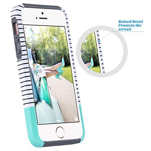 ULAK - Cover per iPhone 5S / 5, Phone SE PC + TPU Custodia ibrida rigida super protettiva con doppio strato in silicone per Apple iPhone SE / 5, iPhone 5S Case Cover - Vino rosso + Grigio Mint Stripes + Grigio