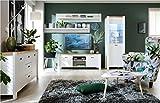 SMARTBett Wohnwand Wohnzimmer Set DEV-03 5-tlg.DEVISO Weiß/Eiche Westminster B07B28644Y