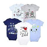 TupTam Unisex Baby Kurzarm Body mit Aufdruck Spruch 5er Pack, Farbe: Junge, Größe: 104