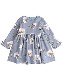 Vestido para Niña, K-youth® Ropa Bebé Niñas Mangas Largas Floral Impresión Vestidos