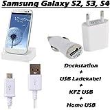 Totalcase 4 in1 Kit Dockingstation Ladekabel Samsung Galaxy S2 S3 S4 S5 S6 Edge mini Ladestation Netzteil KFZ HTC Huawei Sony Micro USB