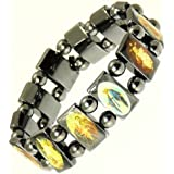 Neptune Giftware Magnetic Hematite Elasticated Saints Bracelet / Jesus Bracelet / All Saints Bracelet - 113
