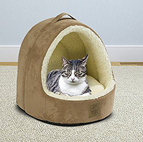 House of Paws Hooded Faux Suede & Faux Sheepskin Cat Bed with Removable Waterproof Anti Slip Base Inner Pillow