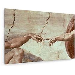 Michelangelo Buonarroti - Die Erschaffung Adams - 75x50 cm - Leinwandbild auf Keilrahmen - Wand-Bild - Kunst, Gemälde, Foto, Bild auf Leinwand - Alte Meister/Museum