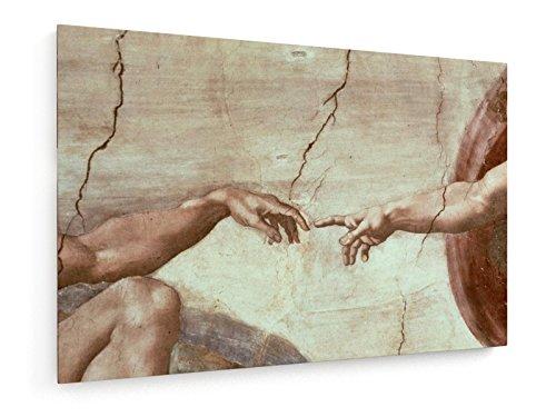 Michelangelo Buonarroti - Die Erschaffung Adams - 75x50 cm - Textil-Leinwandbild auf Keilrahmen - Wand-Bild - Kunst, Gemälde, Foto, Bild auf Leinwand - Alte Meister / Museum (Die Hand Gottes)