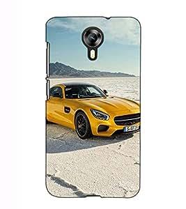 Fuson Designer Back Case Cover for Micromax Canvas Xpress 2 E313 (Yellow car theme)