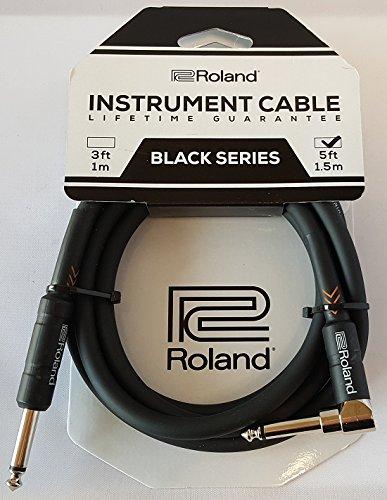 Roland Black-Serie 1,5m Instrumentenkabel, gewinkelt/gerade 6,3-mm-Klinkenstecker – RIC-B5A