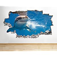Z078 Shark Ocean Sea Animal Boys Bathroom Wall Decal Poster 3D Art Stickers Room Kids Bedroom Baby Nursery Cool Livingroom Hall Boys Girls (Large (90x52cm))