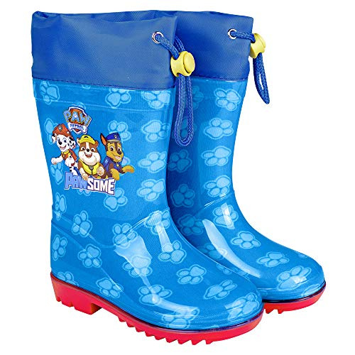 PERLETTI Paw Patrol Rain Boots Kids - Boys Waterproof Puppies Wellies Shoes with Anti Slip Outsole - Blue and Red Details with Marshall Rubble Chase and Rocky