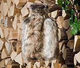 Fell-Wärmflaschenhülle Wolf grau-braun mit Fashy Wärmflasche ca. 2 Liter Fassungsvermögen