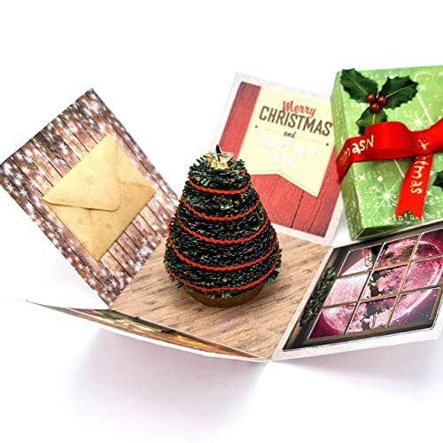 3D Miniature - Originale Biglietto di Auguri Natalizio impreziosito con cristalli Swarovski® - Regalo di Natale - Segnaposto per la tavola - fatto a mano di carta
