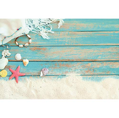 Cassisy 1,5x1m Vinyl Meer Fotohintergrund Shabby Chic Blaue hölzerne Planken Sand Schal Seestern Schale Fotoleinwand Hintergrund für Fotoshooting Fotostudio Requisiten Party Photo Booth Chic-schal