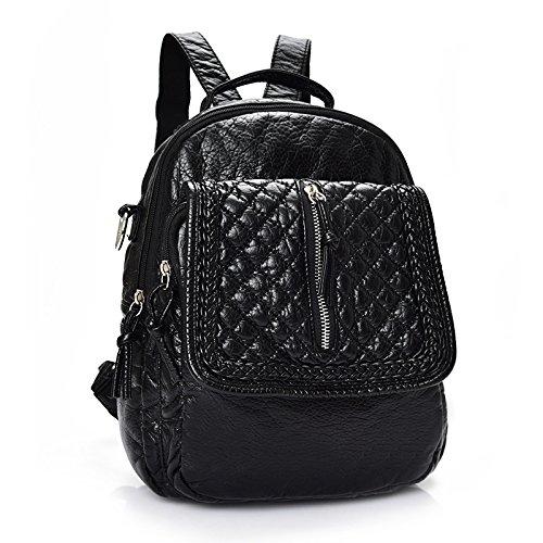 Mefly Marea coreana zaino borsa da viaggio di piacere Litchi Pattern College Wind nero stile 2 Black style one