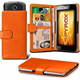 Archos 55B Platinum - Orange Fall Clamp-Art-Mappen Schutz-PU-Leder-Abdeckung