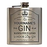 E-Volve Personalisiert Edelstahl Hochwertiger Flachmann Hip Flask 6oz Für Alkohol Whisky / Vodka / Gin - Silber (London Dry Gin)
