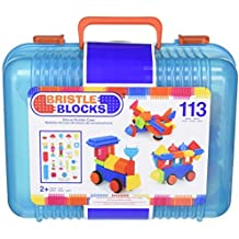 Bristle Block 113 piece Deluxe builder case with family and animal figurines by Bristle Blocks