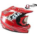 Casco protector y gafas para niños - Para motocross / todoterreno / BMX - Disponible en 7 colores - Rojo - XS (51-52 cm)
