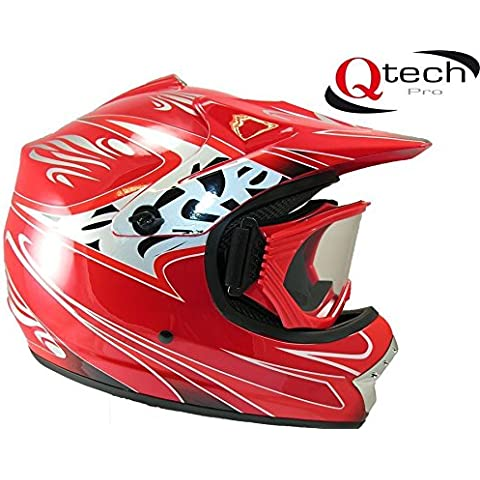 Casco protector y gafas para niños - Para motocross / todoterreno / BMX - Disponible en 7 colores - Rojo - S (53-54