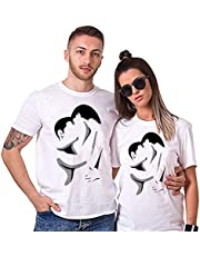 Sai Shree Couple Nightwear T Shirt   Concupiscence T Shirt for Loved Ones   Passion  Free Size White