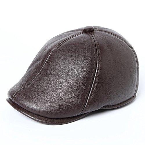 Flat Cap Cabby Hut Leder Vintage Newsboy Mann fahren Kappe (geformt, Ohren zu bedecken) ( Farbe : Braun , größe : L )
