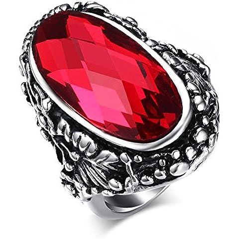 Vnox da donna in acciaio inossidabile Band anello opale pietra preziosa Cocktail Party rosso argento antico nero