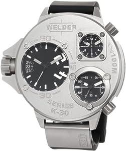 Reloj Welder K30 9000 de caballero de cuarzo con correa de goma negra - sumergible a 100 metros de Welder