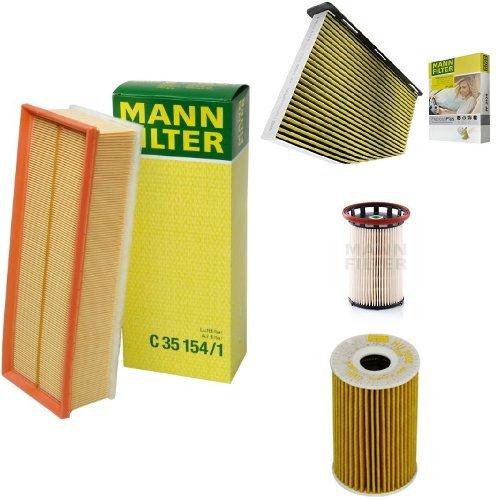 Mann-Filter Service Paket mit 1x Luftfilter C35154/1, 1x Freciousplus Innenraumfilter FP2939, 1x Kraftstofffilter PU 8008/1, 1x Ölfilter HU7008Z