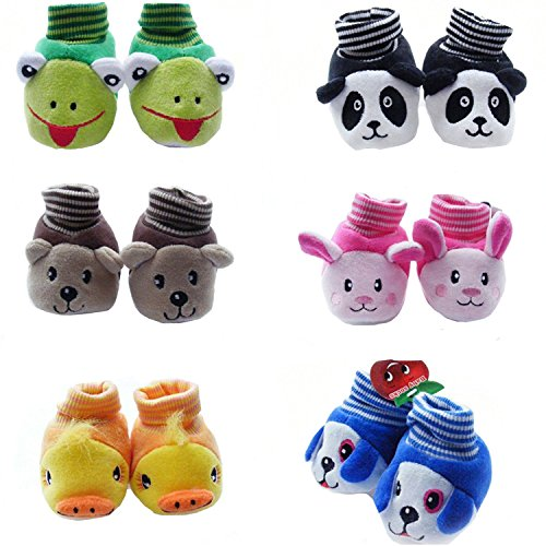 EIO New Born Baby's Booties, (Random Design and Colour, 0 to 6 Months, Multicolour) - Pack of 1
