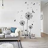 Schmetterlingsfliegen in Löwenzahn-PVC-Wandaufklebern für Wohnzimmerschlafzimmer