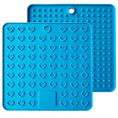 Baomasir 2 stücke Silikon Isoliermatte Platz Lebensmittelqualität Honeycomb Topflappen rutschfeste hitzebeständige Platzdeckchen für Pot Pan Bowl Cup,Blau,