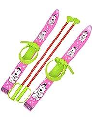 Skis de ski Enfants Reliure + Bâtons de ski enfant plastique 6couleurs 70cm