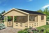 Gartenhaus FREIBURG Blockhütte Blockhaus Holzhaus Holzhütte 500x400cm + Veranda - 70 mm