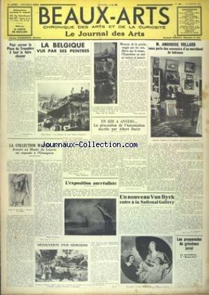 BEAUX-ARTS [No 263] du 14/01/1938 - LA BELGIQUE VUE PAR SES PEINTRES - AMBROISE VOLLARD - POUR SAUVER LA PLACE DU TROCADERO - LA COLLECTION WALTER GAY - L'EXPOSITION SURREALISTE - UN NOUVEAU VAN DYCK