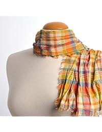 Echarpe Madras pur coton ORANGE / VERT