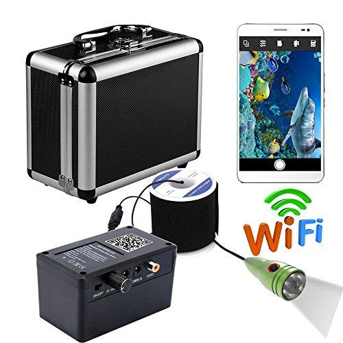 H&L HD WiFi Wireless Portable Fish Depth Finder, Unterwasser-Fishing-Kamera Video-Aufnahme für IOS Android APP mit 6 PCS 1W White LEDs,20M