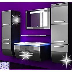 Badmöbel Set Badezimmermöbel Komplett Set Waschbeckenschrank mit Waschtisch Spiegel 2 hochschränke mit LED Hochglanz Fronten Schwarz 70 cm Vormontiert Homeline1