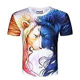 XJWDTX Tee-Shirt Casual À Manches Courtes Homme Impression Numérique Imprimer 3D...