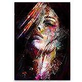 Peinture Sur Toile Pop Art Afro-Américain Affiche Black Art Photo Modèle Féminin En Peinture Murale Sur Toile Accent Maison Décoration Murale De Salon, Pas De Cadre,60×90cm