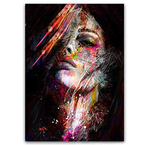 Graffiti-Kunst Leinwandmalerei Pop-Art-Afroamerikaner-Weibliches Schwarzes Kunstplakat Bild Frauen-Modell in Der Wandkunst-Malerei Auf Leinwanddruck Hauptakzent Wanddekoration, Kein Rahmen,60×90cm - Modelle Erotik