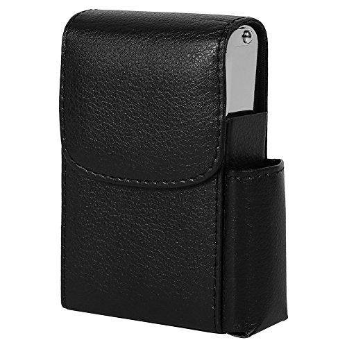 PU Leder Zigarettenschachtel Fall mit Tasche Feuerzeug Halter Zigarette Fall Wallet Design für Männer und Frauen Unisex Schwarz