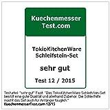 TokioKitchenWare Wasser-Schleifstein-Set, 2 Doppel-Wassersteine, Winkelhilfe & Halter - 7