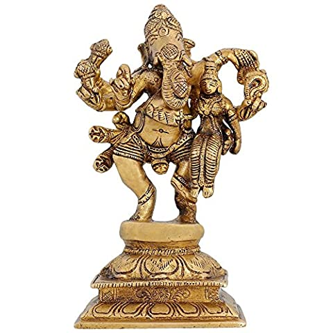 Indian Décor Religious Figure Lord Ganesha With His Consort Siddhi 6 inch (Zurück Figurine)