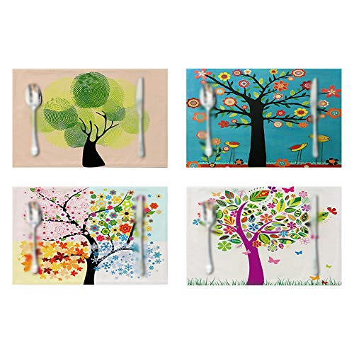 Cotton Table Mat 4Pcs Colorful Tree Non-Slip Coaster Home Decor Heat-Resist Dining Table Mat Nordic Placemat Home Supplies